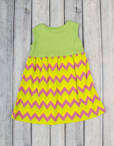 Green Multi-Chevron Kelly Dress - Girls - Stellybelly - 3