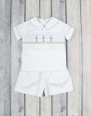 Smocked Crosses Collared Short Set - Boys - Stellybelly - 1
