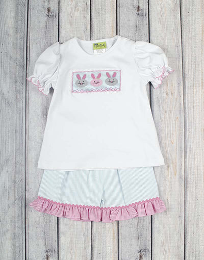Smocked Bunny Faces Ruffle Short Set - Girls - Stellybelly - 1