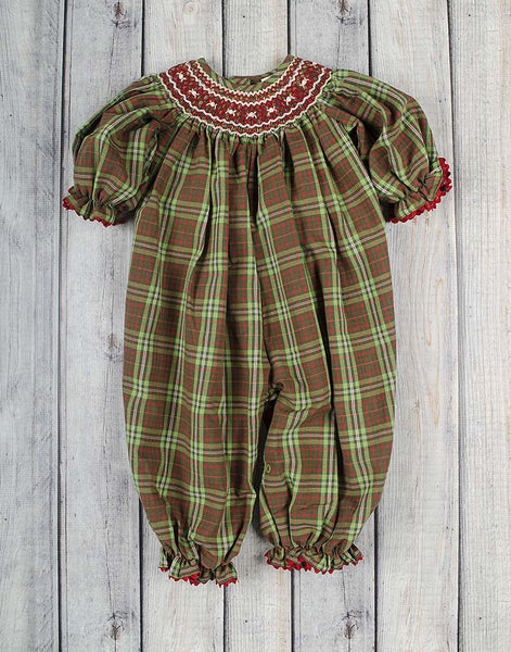 Christmas Plaid Geo Long Bubble - Girls - Stellybelly - 1