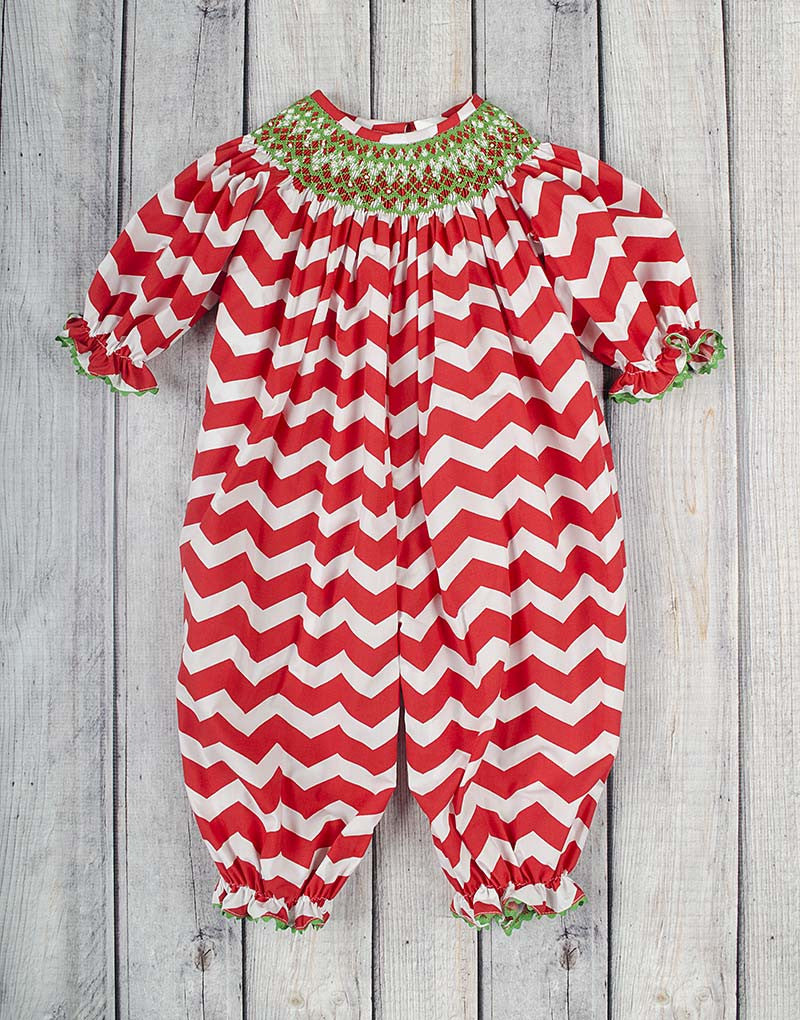 73261accfd3 Smocked Red White Chevron Geo Long Bubble - Girls - Stellybelly - 1