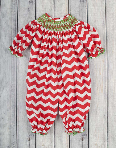 Smocked Red/White Chevron Geo Long Bubble - Girls - Stellybelly - 1