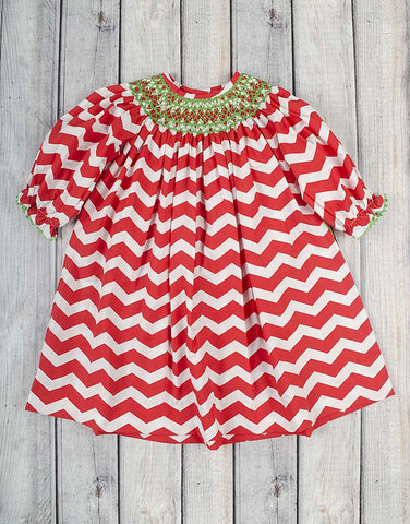 Smocked Red/White Chevron Geo Bishop - Girls - Stellybelly - 1