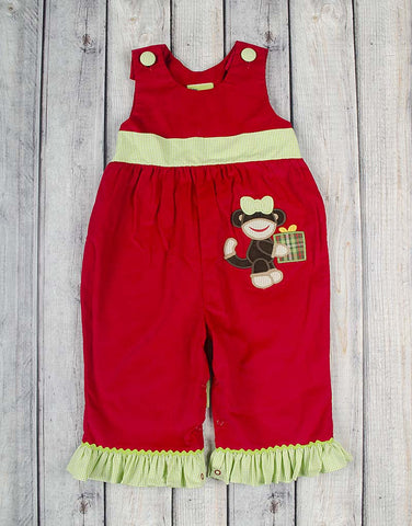 Christmas Monkey Applique Ruffle Romper - Girls - Stellybelly - 1