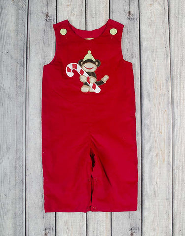 Christmas Monkey Applique Longall - Boys - Stellybelly - 1