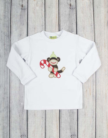 Christmas Monkey Applique Long Sleeve Shirt - Boys - Stellybelly - 1