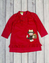Christmas Monkey Applique Presley Ruffle Dress - Girls - Stellybelly - 1