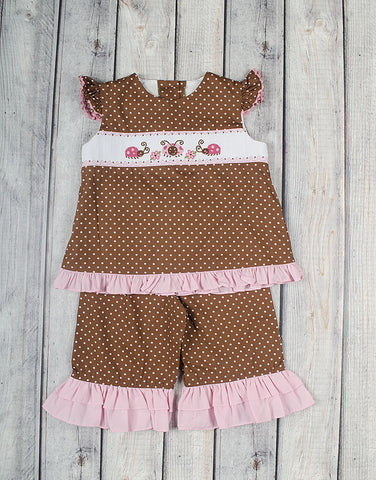 Smocked Ladybug Capri Set - Girls - Stellybelly - 1