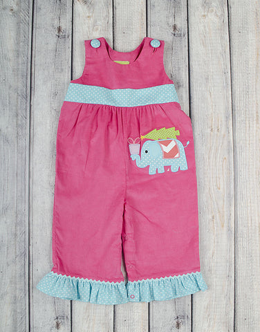 Christmas Elephant Ruffle Romper - Girls - Stellybelly - 1