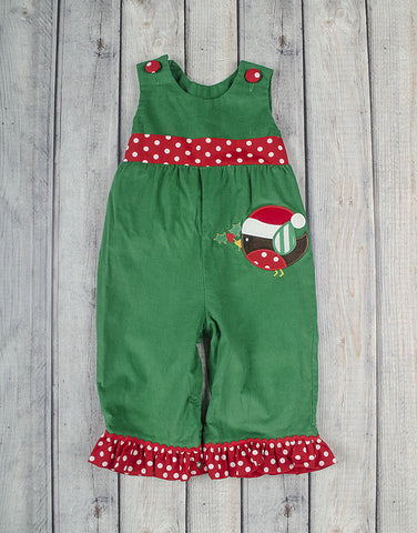 Christmas Birdie Applique Ruffle Romper - Girls - Stellybelly - 1
