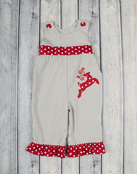 Reindeer Applique Ruffle Romper - Girls - Stellybelly - 1