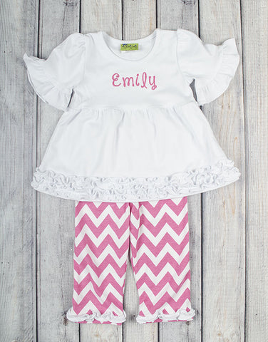 White/Hot Pink Short Sleeve Chevron Sophia Legging Set - Girls - Stellybelly - 1
