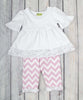 White/Light Pink Chevron Sophia Legging Set - Girls - Stellybelly - 1
