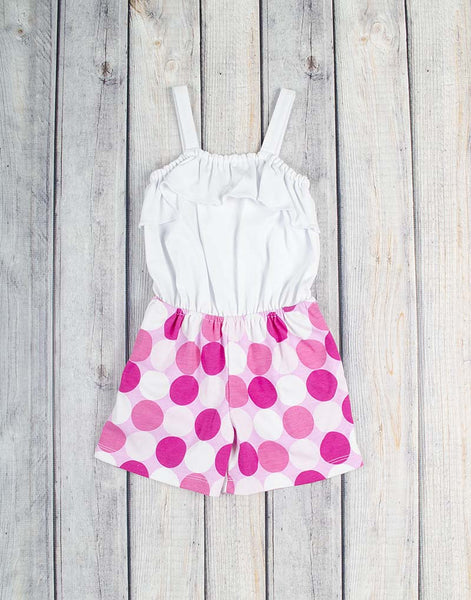 White/Pink Multi-Dot Emrie Romper - Girls - Stellybelly - 1