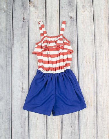 Coral Stripe/Navy Emrie Romper - Girls - Stellybelly - 1