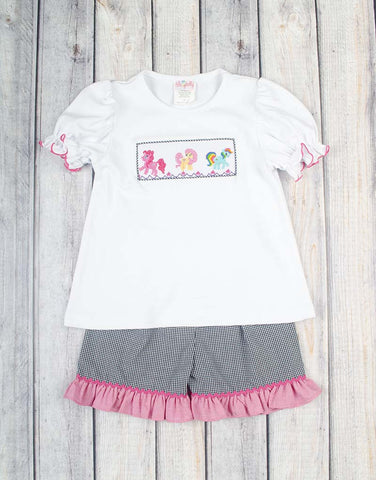 Smocked Pony Ruffle Short Set - Girls - Stellybelly - 1