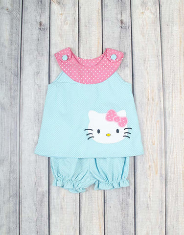Kitty Yoke Top Bloomer Set - Girls - Stellybelly
