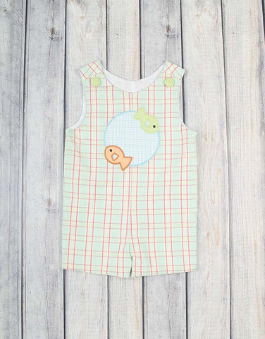 Plaid Fish Patch Applique Jon Jon - Boys - Stellybelly - 1