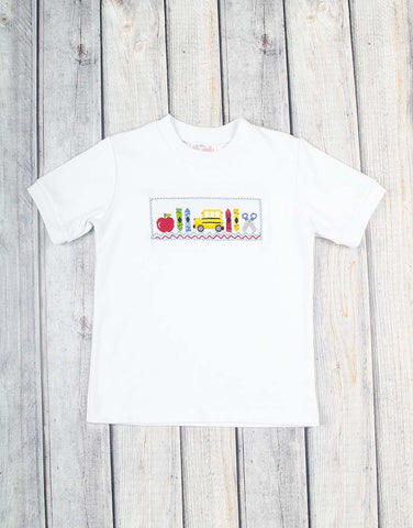 Smocked School Days T-Shirt - Boys - Stellybelly - 1