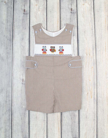 Smocked School Owls Jon Jon - Boys - Stellybelly - 1
