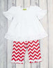 White/Red Chevron Sophia SS Legging Set - Girls - Stellybelly - 1