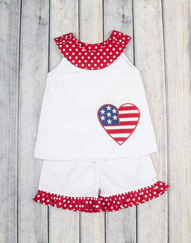 4th of July Flag Heart Ruffle Short Set - Girls - Stellybelly - 1