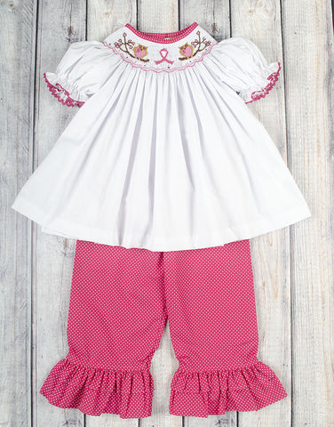 Smocked Save The Hooters Bishop Top Pant Set - Girls - Stellybelly - 1