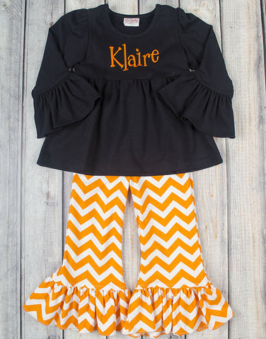 Black/Orange Chevron Knit Peyton Pant Set - Girls - Stellybelly - 1