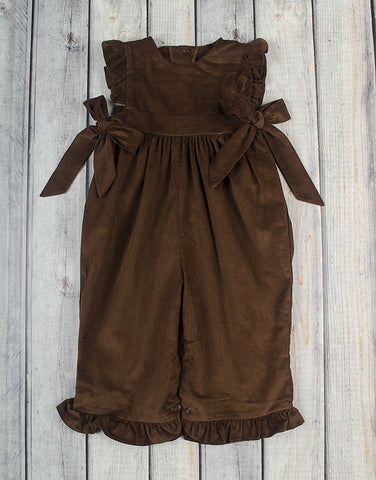 Brown Cord Ruffle Romper - Girls - Stellybelly - 1