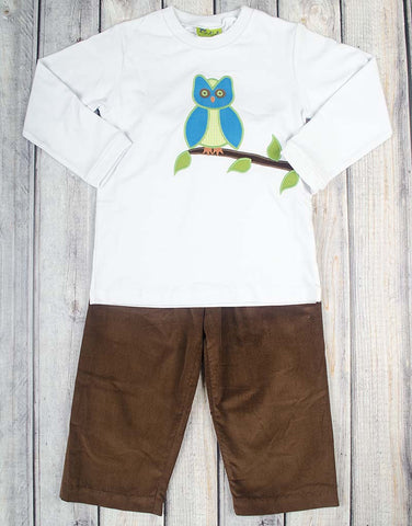 Winter Owl Applique Pant Set - Boys - Stellybelly