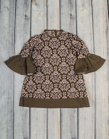Brown/Pink Damask Long Sleeve Tunic Dress - Girls - Stellybelly