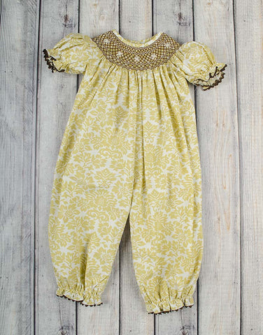 Smocked Khaki Damask Geo Long Bubble - Girls - Stellybelly - 1