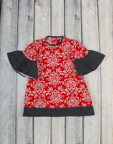 Red/Black Damask Ruffle Tunic Dress - Girls - Stellybelly