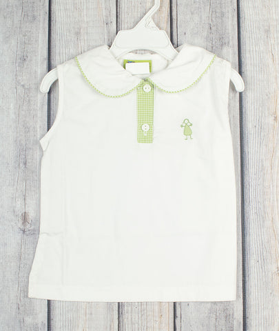 White Collared Sleeveless Shirt w/stitching -  - Stellybelly