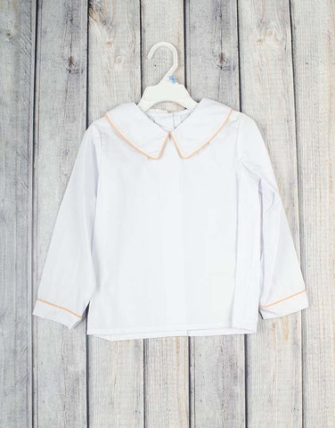 Boys LS White Peter Pan Shirt-Orange Gingham Trim -  - Stellybelly
