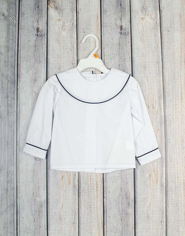 Round Collar White LS Boys Peter Pan Shirt-Dark Navy Cord Trim -  - Stellybelly