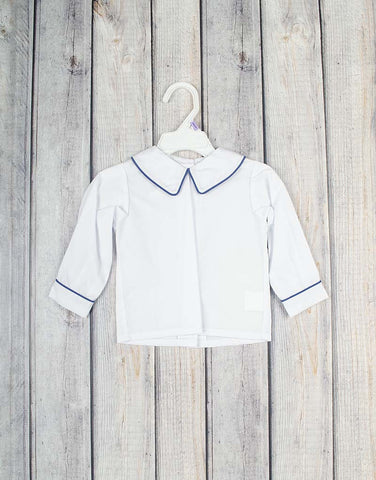 White LS Boys Peter Pan Shirt-Blue Cord Trim -  - Stellybelly