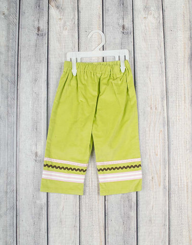 Green Cord/Ribbon Girls Pants -  - Stellybelly