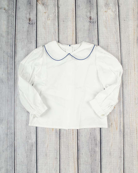Girls LS White Peter Pan Shirt with Royal Blue Trim -  - Stellybelly