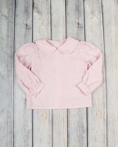 Girls Light Pink Gingham LS Peter Pan Shirt -  - Stellybelly