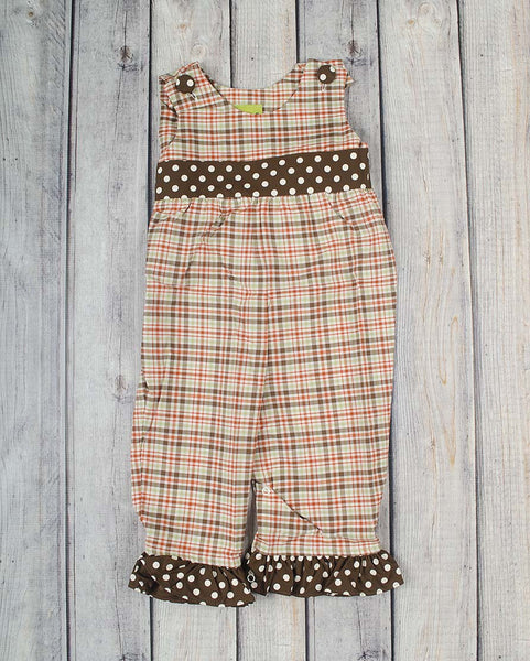 Fall Plaid Ruffle Romper - Girls - Stellybelly