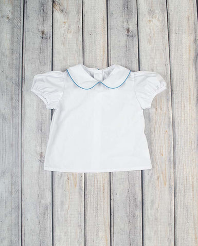 Girls SS White Peter Pan Shirt - Turquoise Trim -  - Stellybelly