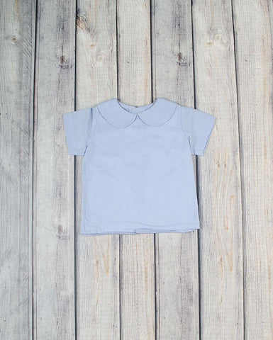 Girls SS Blue Linen Peter Pan Shirt -  - Stellybelly