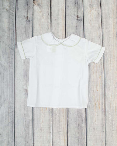 Girls White Peter Pan Shirt - Green Gingham Trim -  - Stellybelly
