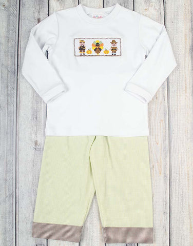 Smocked Thanksgiving Pals Boys Pant Set - Boys - Stellybelly - 1