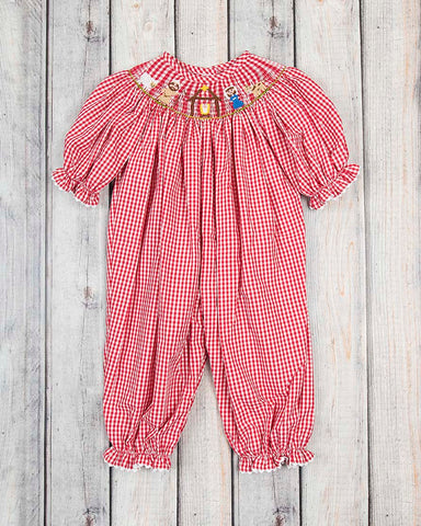 Smocked Red Nativity Long Bubble