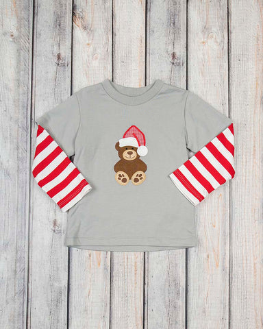 Teddy Bear Applique LS Shirt