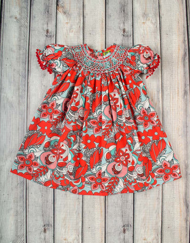 Smocked Red/Aqua Swirl Bishop - Girls - Stellybelly - 1