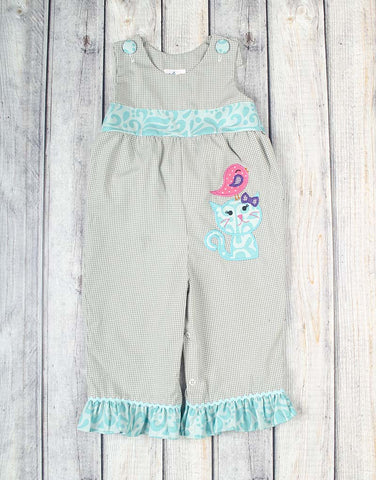 Kitty Bird Applique Ruffle Romper - Girls - Stellybelly - 1