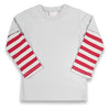 Gray/Red Stripe Boys LS T-Shirt